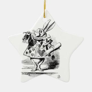 Weißes Kaninchen Keramik Ornament