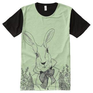 Weißes Kaninchen von Alices Abenteuern im T-Shirt Mit Bedruckbarer Vorderseite