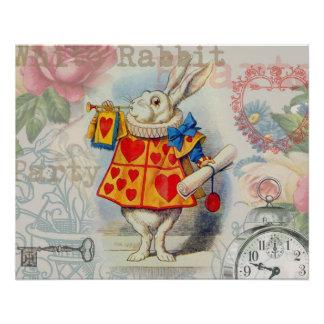 Weißes Kaninchen von Herz-Märchenland Poster