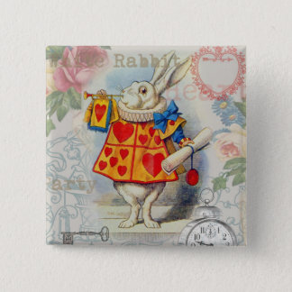 Weißes Kaninchen von Herz-Märchenland Quadratischer Button 5,1 Cm
