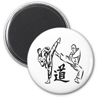 Weißes Karate tritt Tao die Weise Runder Magnet 5,7 Cm