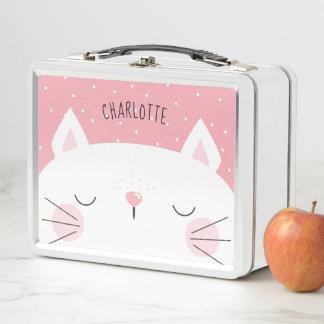 Weißes Kätzchen - Name - Rosa Metall Lunch Box