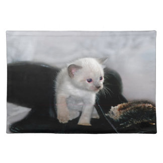 Weißes Kätzchen und der Stiefel Stofftischset
