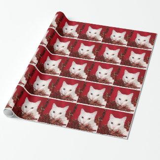 Weißes Katze Weihnachten Geschenkpapier