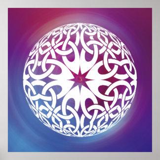 Weißes keltisches Knotenkreis Plakat