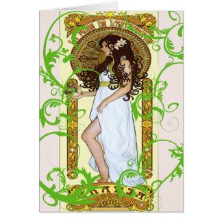 weißes Kleiderfranzösisches Vintages Karte