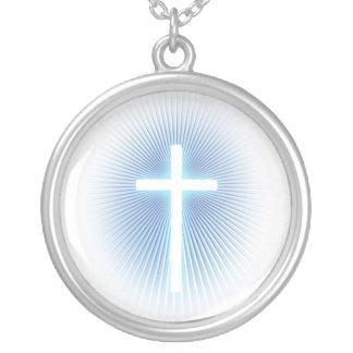Weißes Kreuz auf Blau - Halskette