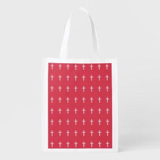 Weißes Kreuz Wiederverwendbare Einkaufstasche
