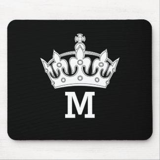 Weißes Kronen-Monogramm personalisiert Mauspad