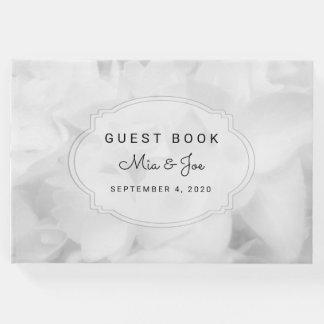 Weißes kundenspezifisches Hochzeits-Gast-mit Gäste Buch