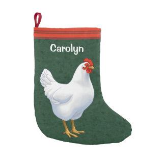 Weißes Leghorn-Huhn-Henne Kleiner Weihnachtsstrumpf