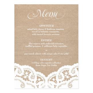 Weißes Leinwand-Spitzedoily-Hochzeits-Menü Postkarte