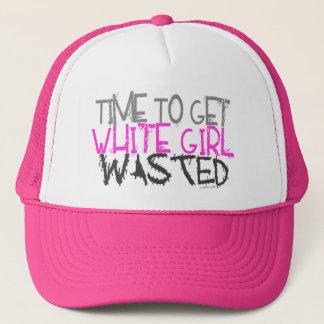 Weißes Mädchen vergeudete Hüte Truckerkappe