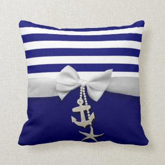 Weißes nautischband u Charme des blauen Streifens Kissen