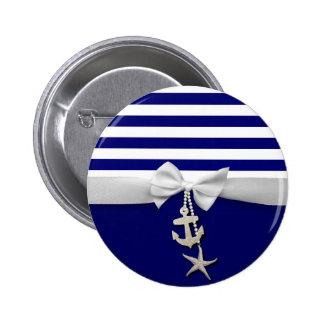 Weißes nautischband u. Charme des blauen Streifens Runder Button 5,1 Cm