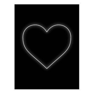 Weißes Neonherz - LiebeValentines Postkarte