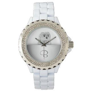 Weißes niedliches Eulen-Tier-Monogramm Armbanduhr