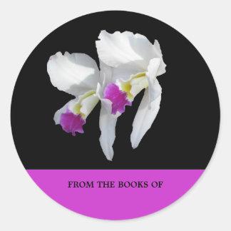 Weißes Orchideen-Buchzeichen Runder Aufkleber