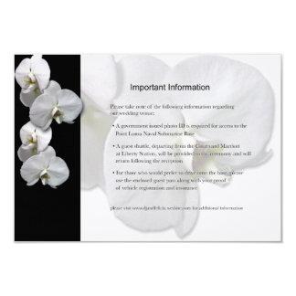 Weißes Orchideen-Informations-Blatt Karte