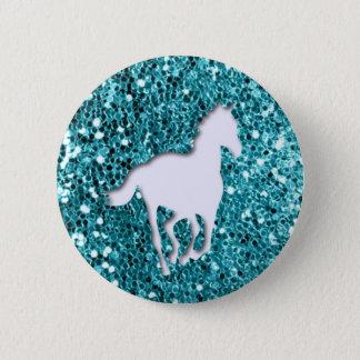 Weißes Pferd auf Aqua-Glitzer-Blick Runder Button 5,7 Cm