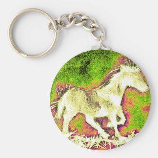 Weißes Pferd der fröhlichen warmen Feiertage Schlüsselanhänger