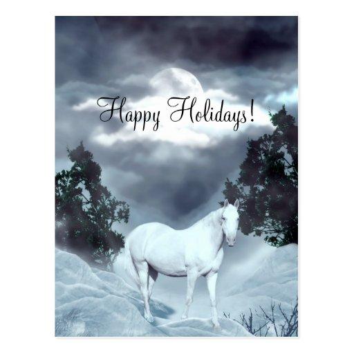 Weißes Pferd frohe Feiertage Postkarten