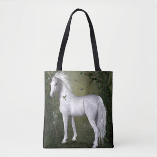 Weißes Pferd im Holz mit Kolibri-Tasche Tasche