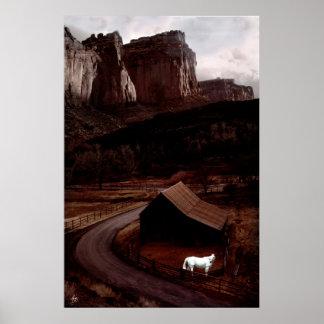 Weißes Pferd im Plakat Utahs Canyonlands