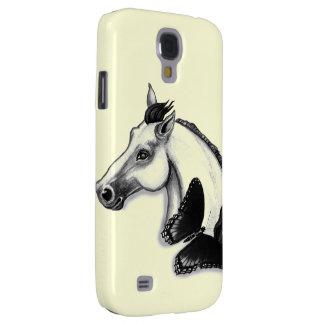 Weißes Pferde-und Schmetterlings-Entwurf Galaxy S4 Hülle