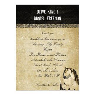 Weißes Pferdeelegante Hochzeits-Einladung 14 X 19,5 Cm Einladungskarte
