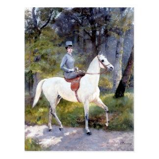 Weißes Pferdemalerei Damen-Riding Postkarte