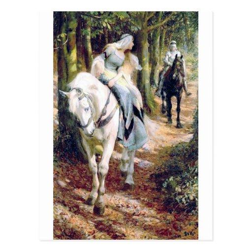 Weißes Pferdemittelalterliches romantisches Ritter Postkarten