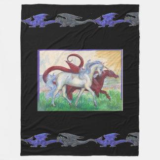 Weißes Pferderoter Drache-sonnige blaues Fleecedecke