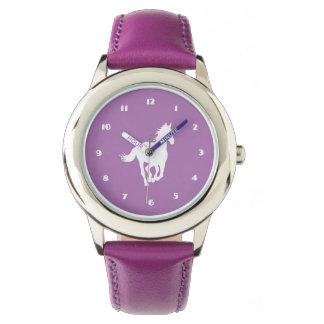 Weißes PferdeSilhouette auf Lila Armbanduhr