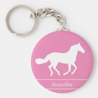 Weißes PferdeSilhouette-Rosa-Hintergrund mit Namen Standard Runder Schlüsselanhänger