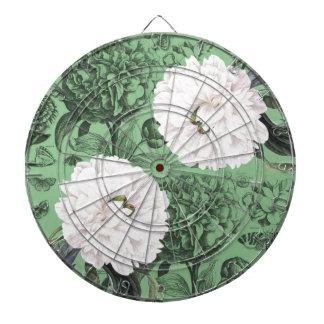 Weißes Pfingstrosen-Grün romantisch Dartscheibe