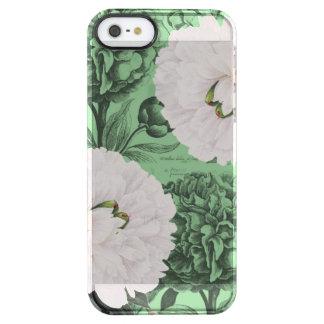 Weißes Pfingstrosen-Grün romantisch Durchsichtige iPhone SE/5/5s Hülle