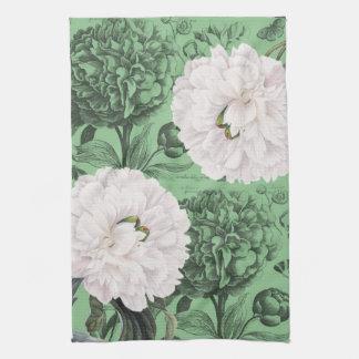 Weißes Pfingstrosen-Grün romantisch Handtuch