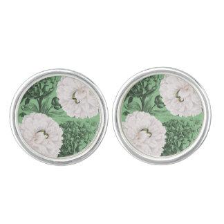 Weißes Pfingstrosen-Grün romantisch Manschetten Knöpfe