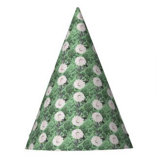 Weißes Pfingstrosen-Grün romantisch Partyhütchen