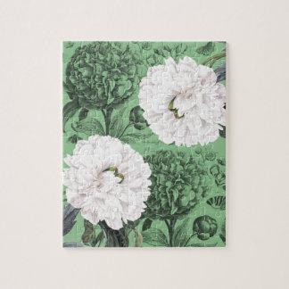 Weißes Pfingstrosen-Grün romantisch Puzzle