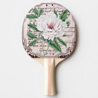 Weißes Pfingstrosen-Skript Tischtennis Schläger