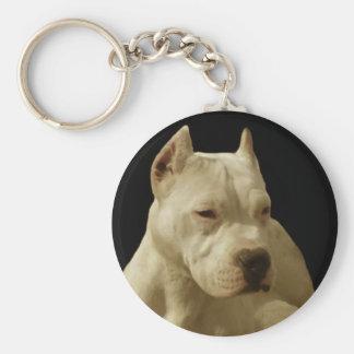 Weißes pitbull keychain standard runder schlüsselanhänger