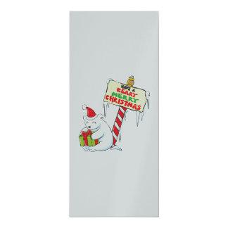 Weißes polarer Bärn-Weihnachtskundenspezifische 10,2 X 23,5 Cm Einladungskarte