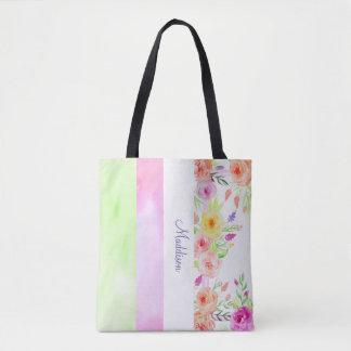 weißes rosa grünes modernes Sommer-Blumen Tasche