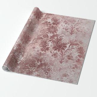 Weißes rosa Rosen-GoldGrungy graue mit BlumenHütte Geschenkpapier