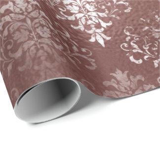 Weißes rosa Rosen-GoldGrungy grauer Grasmit Geschenkpapier