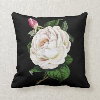 Weißes Rosen-Baumwollkissen Kissen
