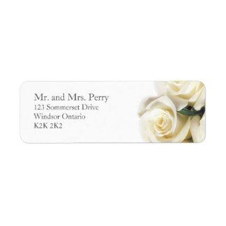 Weißes Rosen-Druck-Adressen-Etikett Rückversand-Adressaufkleber