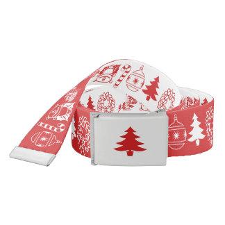 Weißes/rotes WeihnachtsSchriftart-Kunst-Muster Gürtel